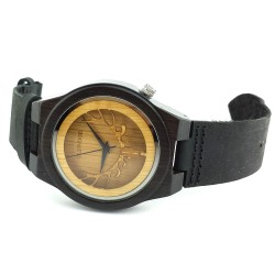 Medinis laikrodis Dark Leather 3D Elk
